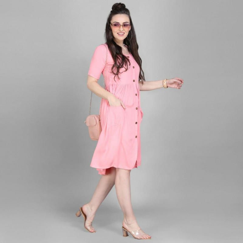 Adorable Heavy Rayon Light Pink Stitched Kurti online available