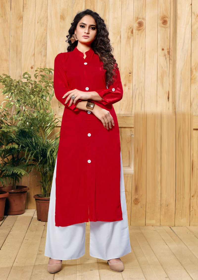 Decent Wedding Wear Red Printed Palazzo Suit
