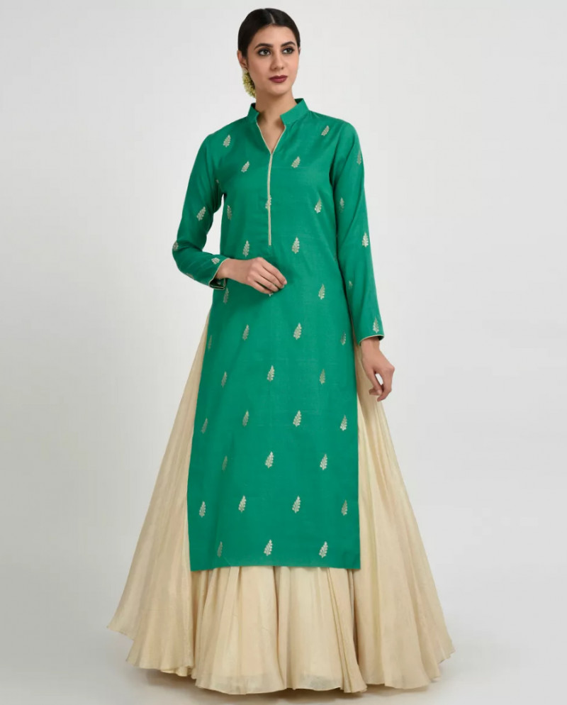 Good Looking Banglory Silk Green Colour Georgette Embroidery Lahenga Choli