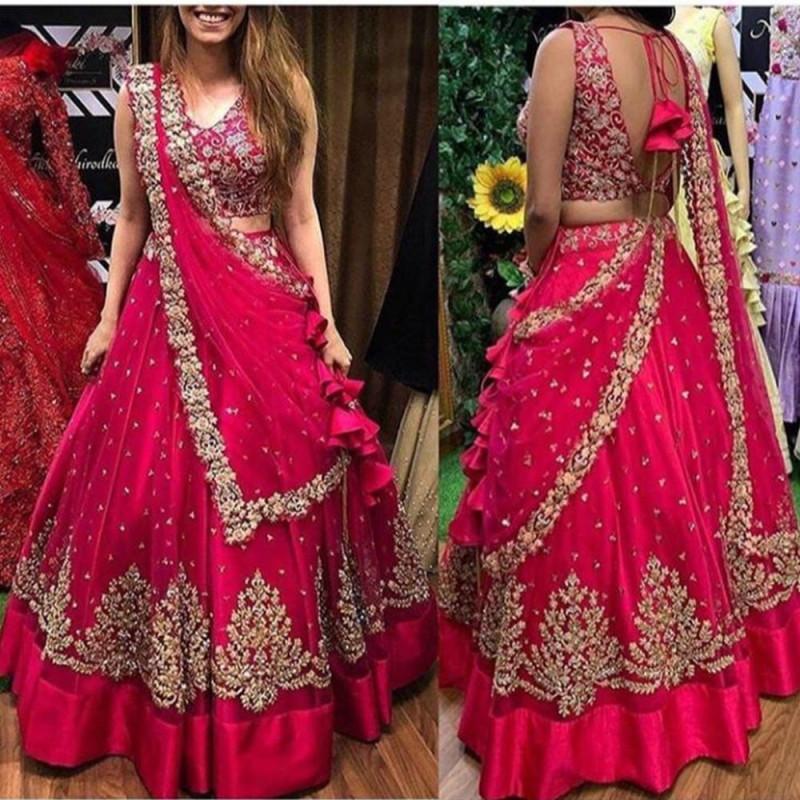 Intricate Pink Colour Online Lehnga Choli Design