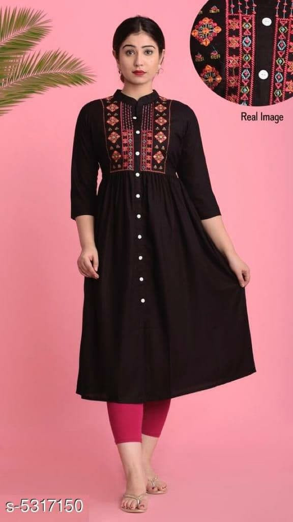 Magnetic Neck Embroidered Black Colour Rayon Kurti