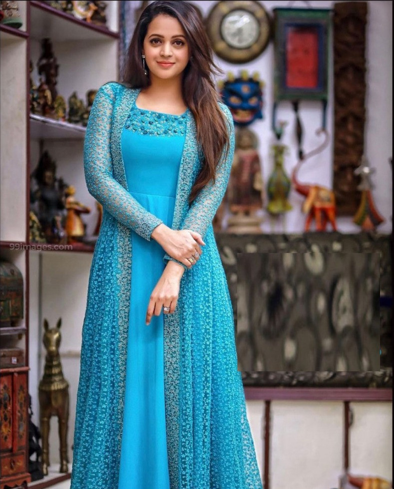 Engrossing Blue Colour Festival Wear Georgette Koti With Gown