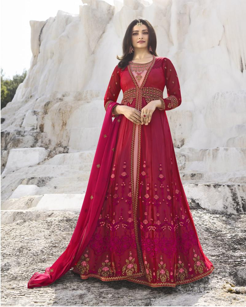 Prominent Nylon Net EmbroideRed Colour Long Anarkali Suit In Red Colour
