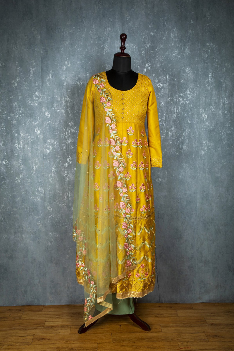 Pleasant Sparkling Festival Wear Yellow Colour Embroidereded Suit
