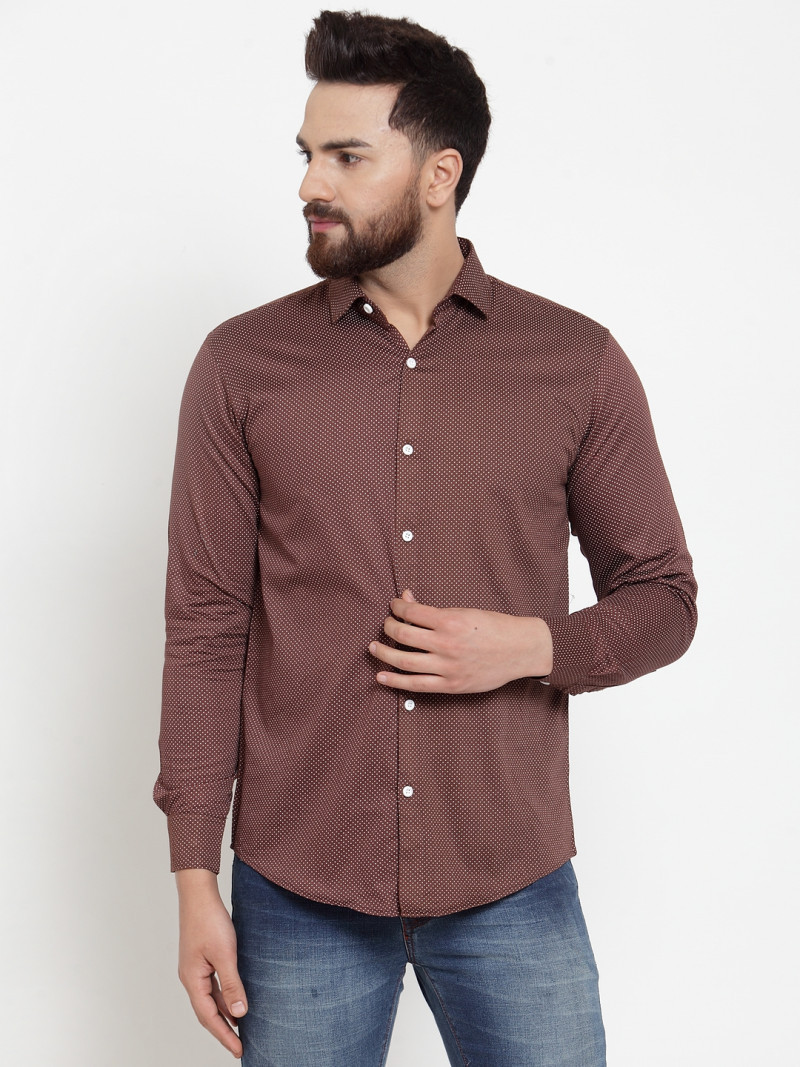 Stylee Lifestyle Buy Online Brown Colour Small Dott Printed Shirt