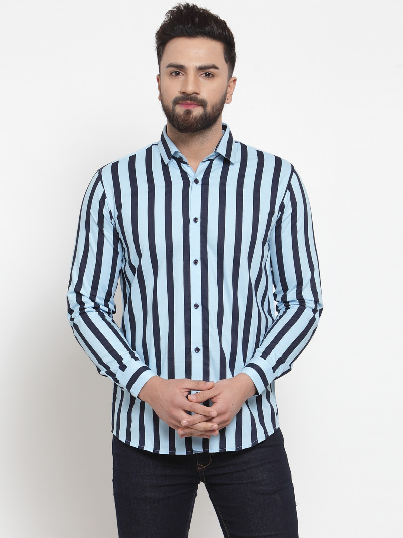 Wonderful Buy Light Blue With Black Striped Shirt