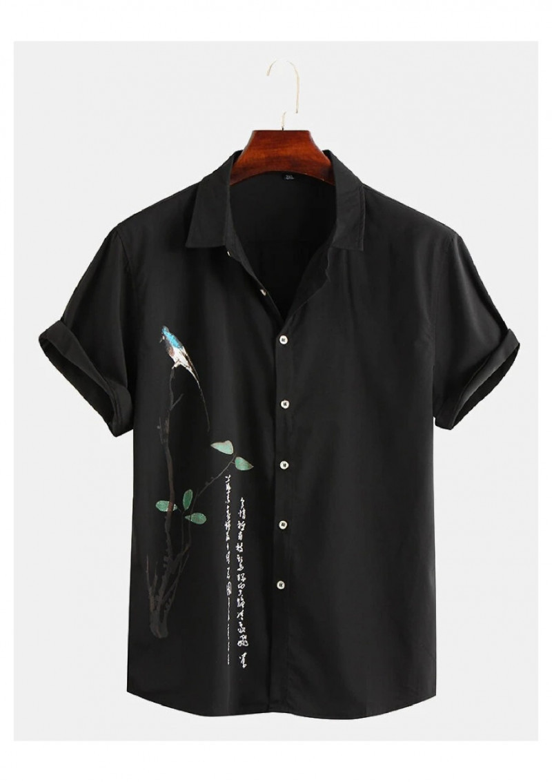 Delightful Attractive Black With Sparrow Printed Half Sleeve Shirt