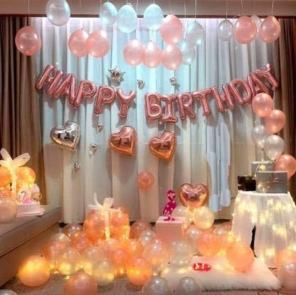 Happy Birthday Balloons Decoration Kit 113 Pcs Set with Helium Letters Foil Balloon Banner