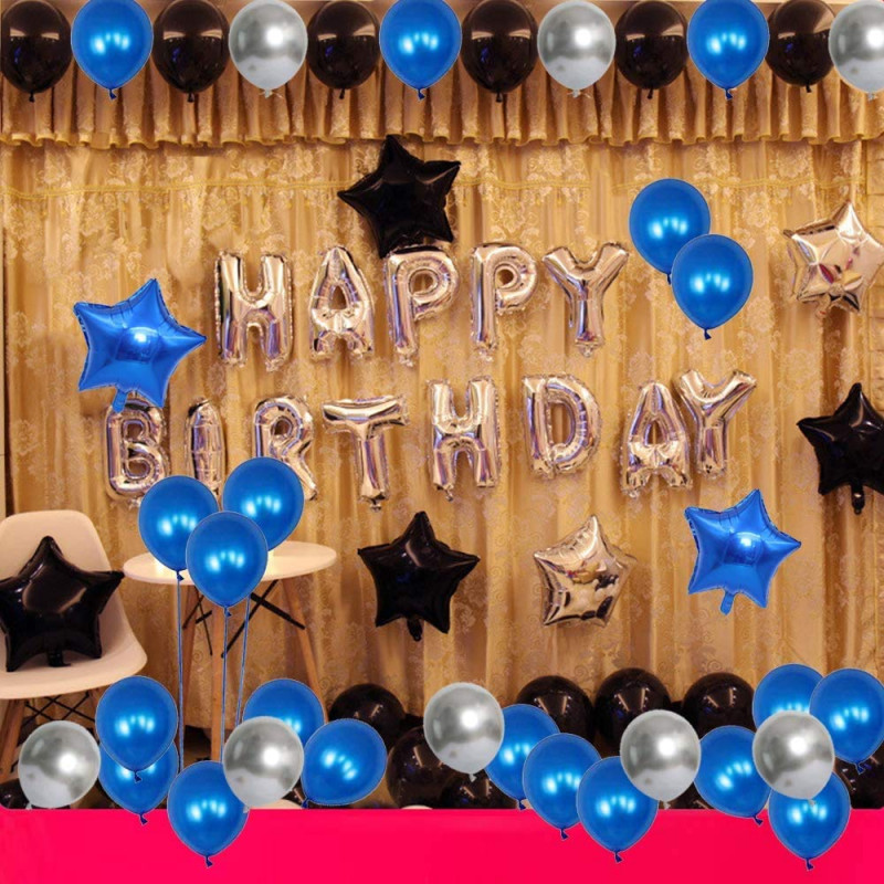 Happy Birthday Decoration Set Of 69 Combo Of  Latter Balloons with Star Foil and Metallic Balloon