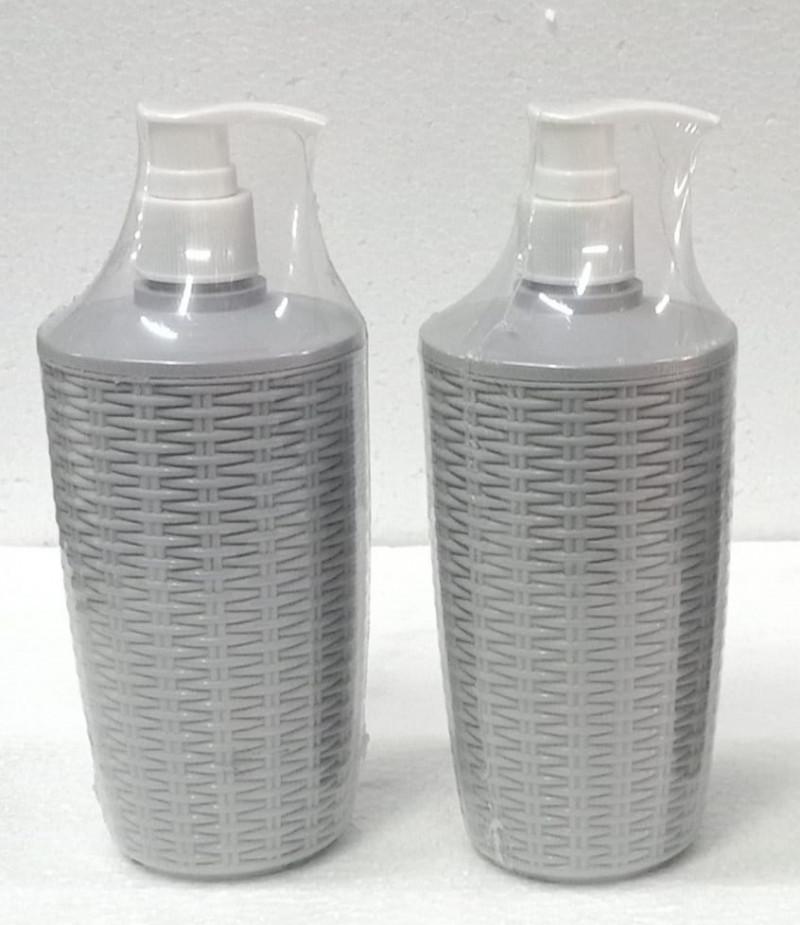 Nayasa Cane High Quality Unbrekable Soap Dispenser Gray Color Set of 2 Bottles