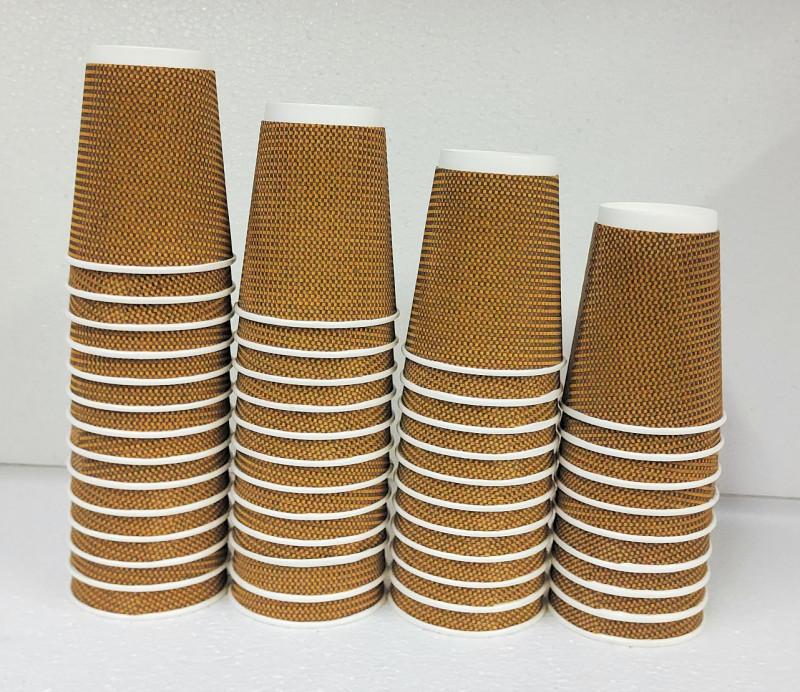 ILAVIZ 300 ml Ripple Dimond Disposable Paper Glass Hot & Cold Beverage set of 160 pcs