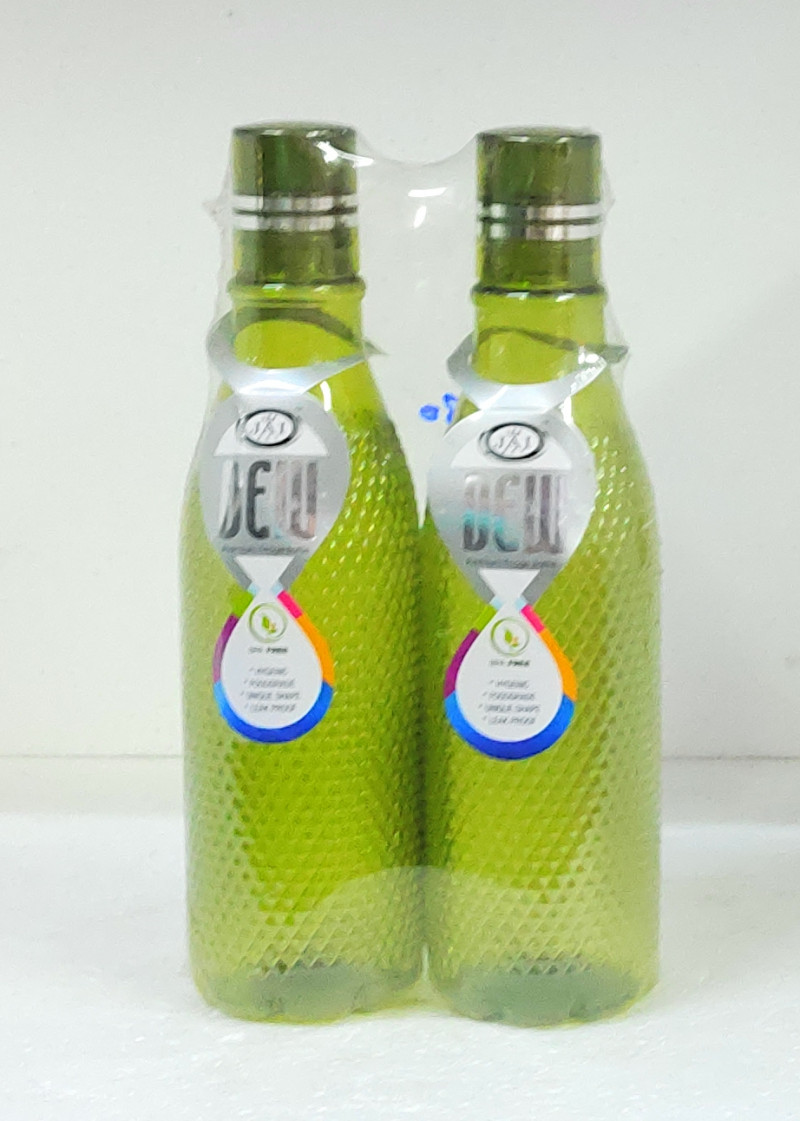 ILAVIZ Jaipet Dew Primium Plastic Fridge Bottle Set 2 pcs 1 Ltr Checkered pattern Green colour