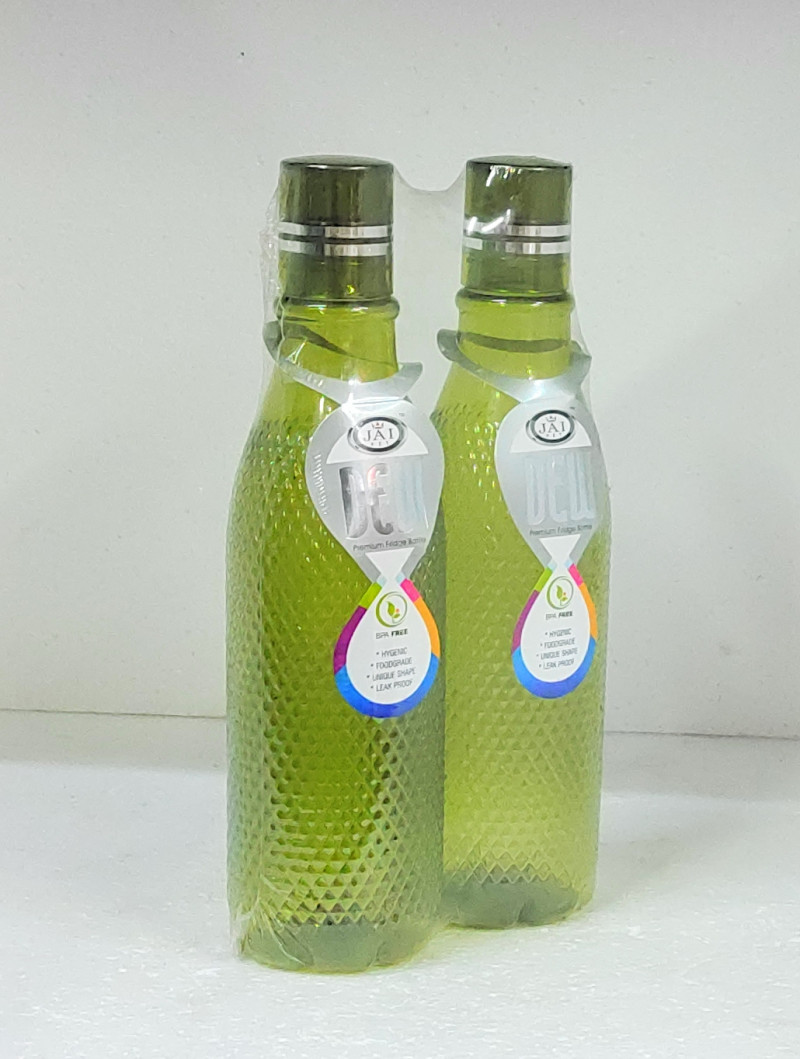 ILAVIZ Jaipet Dew Primium Plastic Fridge Bottle Set 4 pcs 1 Ltr Checkered pattern Green colour