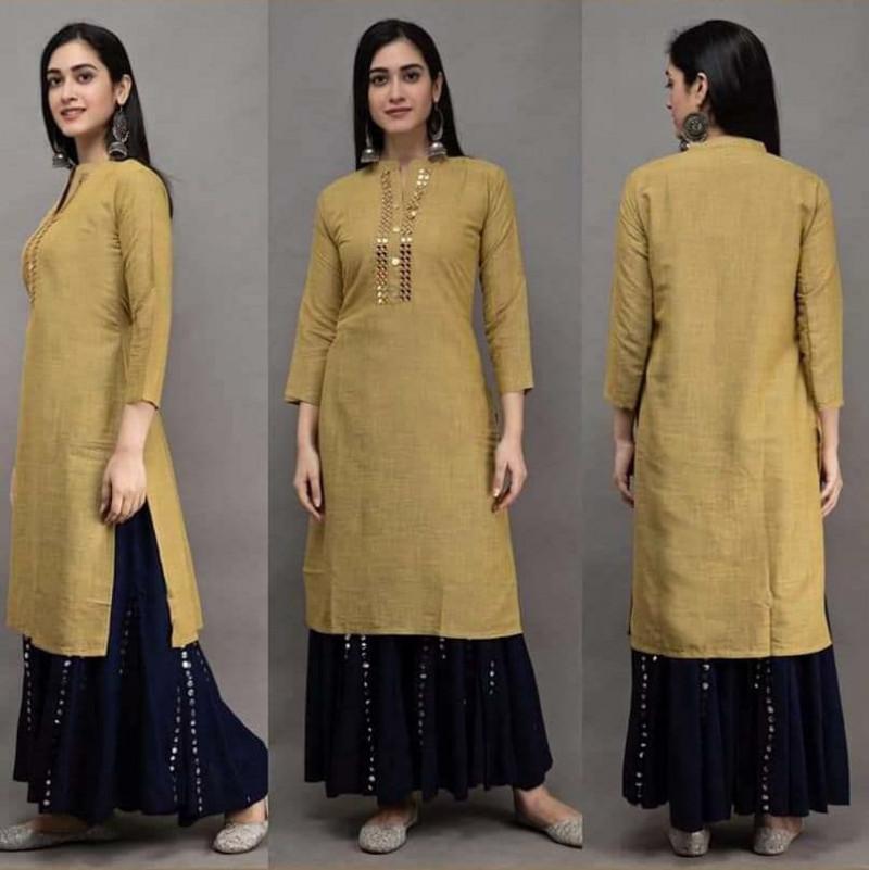 Sophisticated Rayon Fabric Mustard Kurti With Black Colour Paper Mirror Sharara