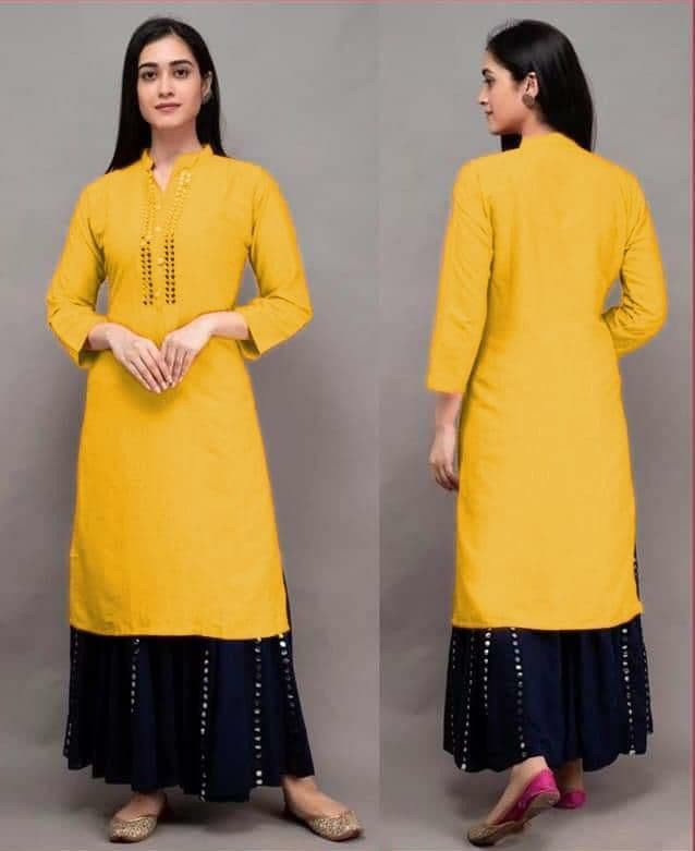 Stylee Lifestyle Rayon Yellow Colour Kurti With Black Colour Paper Mirror Sharara