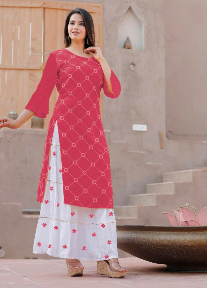 Alluring Rayon Pink Colour Kurti With Cotton Palazzo