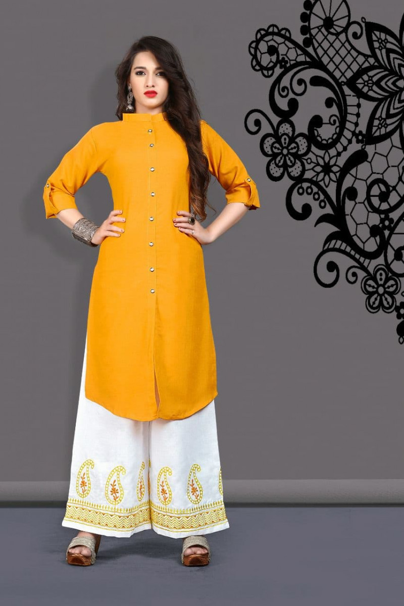 Breathtaking Cotton Yellow Colour Embroidered Palazzo Suit