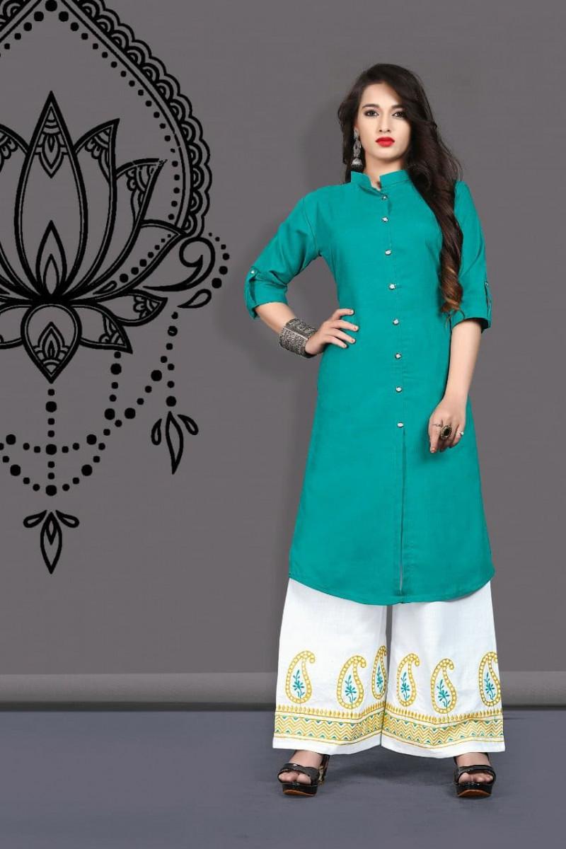 Classic Cotton Rama Kurti With EmbroideRed Colour Palazzo