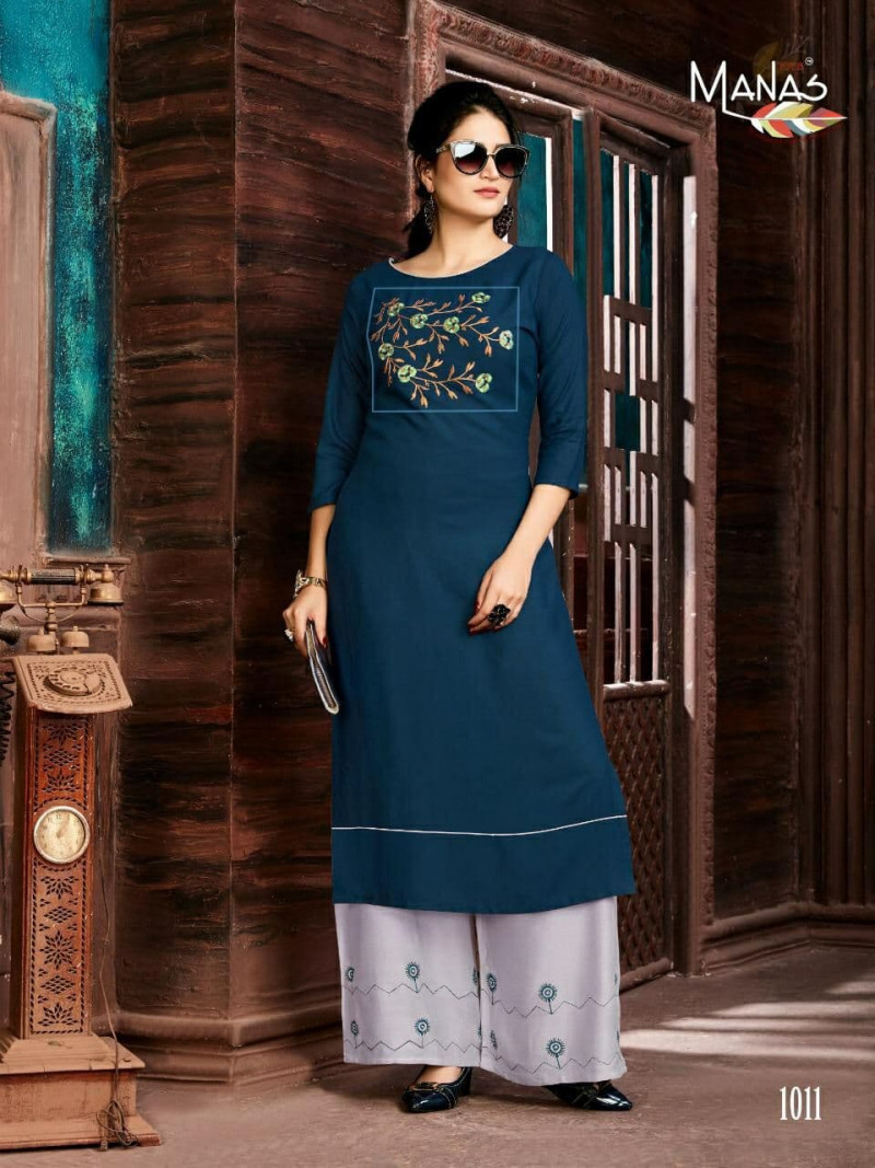 Energetic Rayon Blue Colour Kurti With EmbroideRed Colour Grey Colour Palazzo