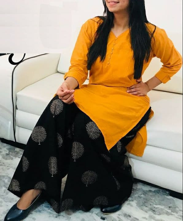 Fancy Yellow Colour Rayon Kurti With Embroidered Palazzo