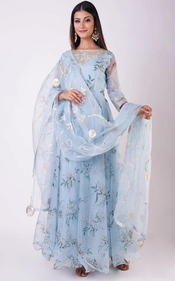 Simple  Sky Colour Festive Wear Printed Gown