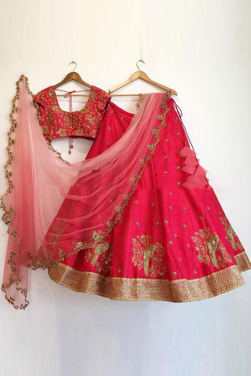 Attarctive Red Colour Sparrow Embroidered Lehenga Choli
