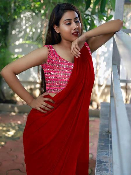 Exclusive Red Colour Plain Silk Saree With Blouse