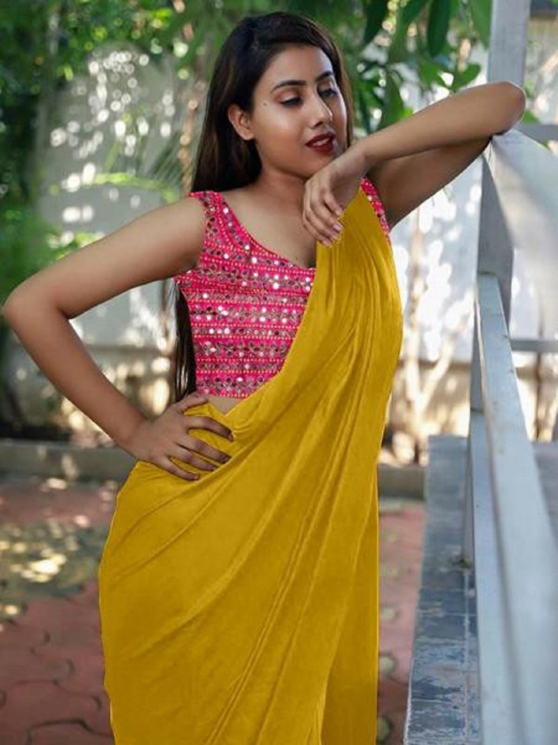 Exotic Festival Wear Yellow Colour Satin Silk Saree With Mirror Worked Blouse