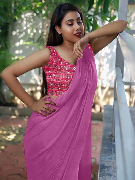 Fabulous Festival Wear Light Purple Silk Saree With Mirror Worked Blouse