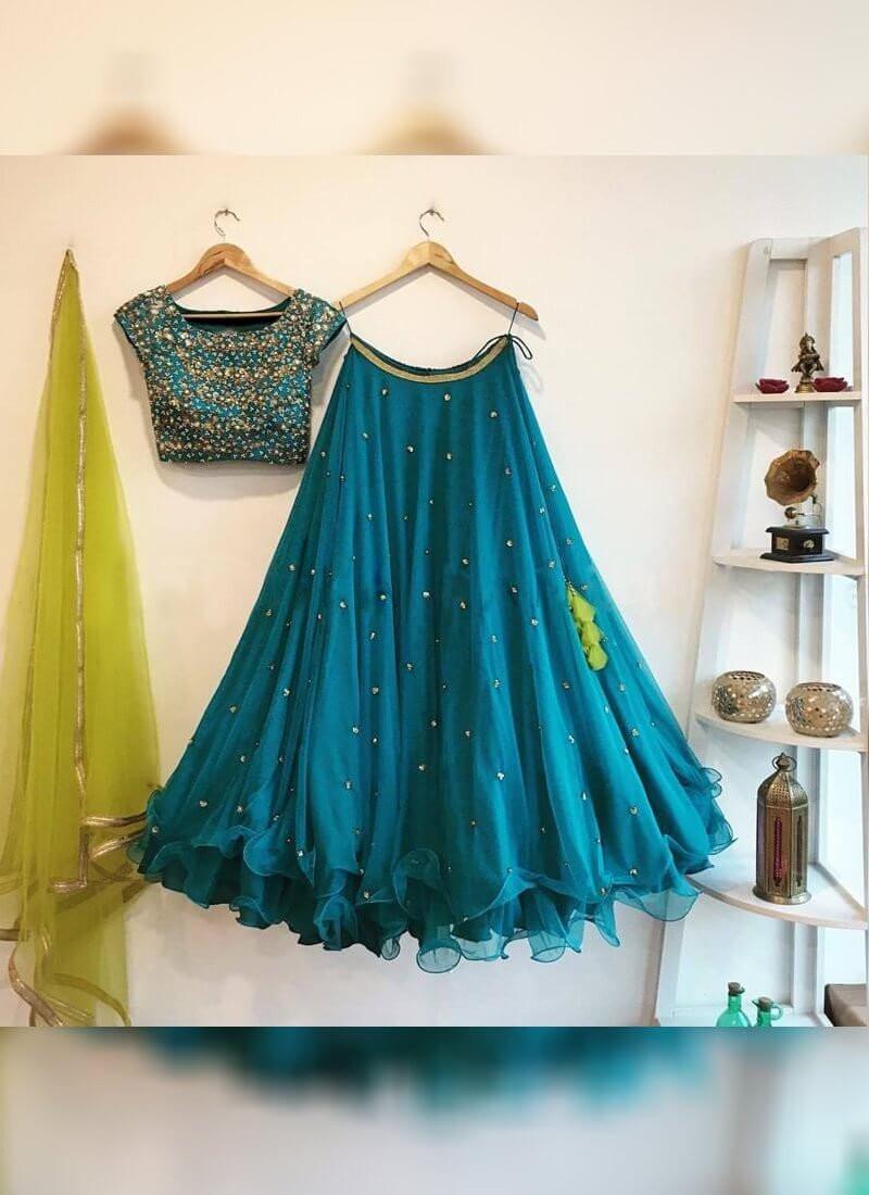 Preferable Bedazzling Teal Blue Colour Georgette Bamberg Lehenga Choli