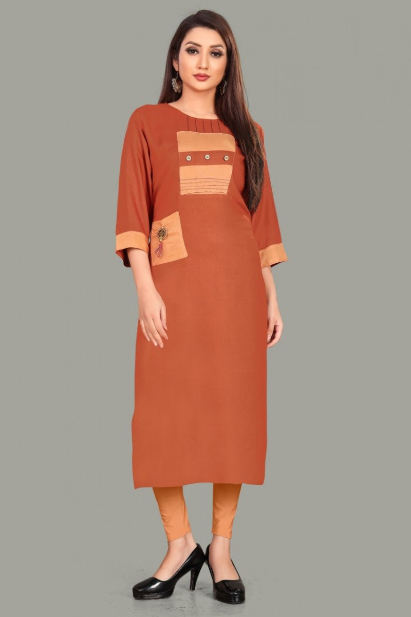 Desirable Impressive Causal Brown Colour Crepe KurtiWomen