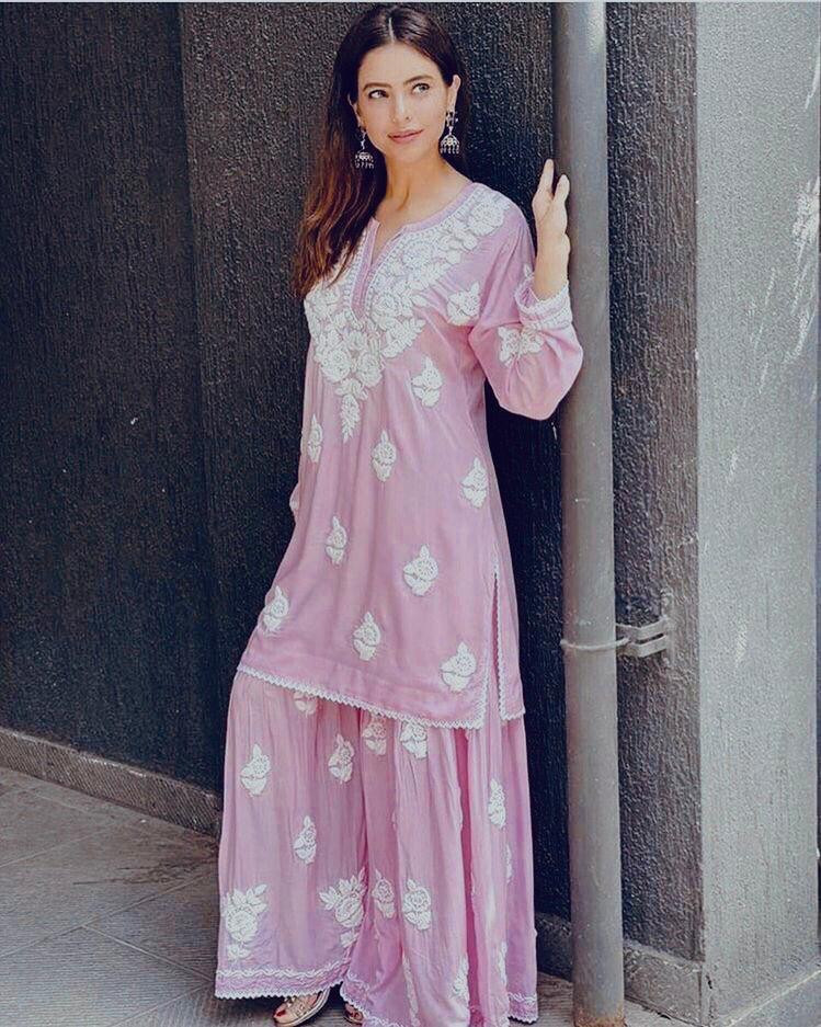 Glossy Pleasant Light Pink Colour Festival Wear Sharara Suit