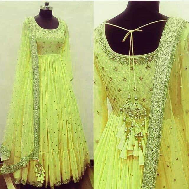 Glowing Beguiling Festival Wear Lemon Yellow Colour Long Gown