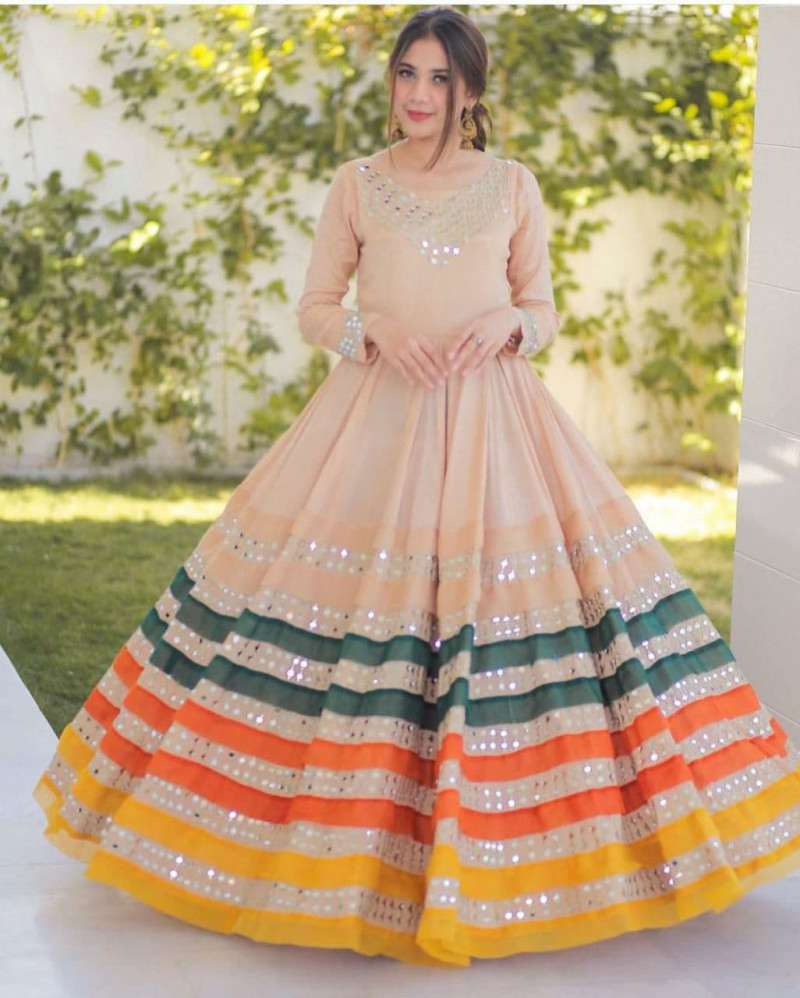 Blushing Occasion Vichitra Silk Paper Mirror Cream Colour Gown