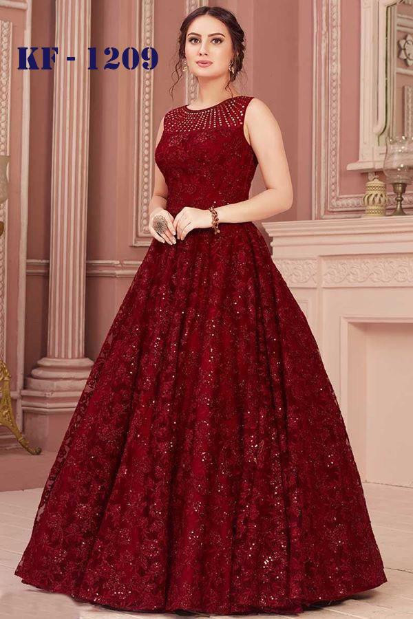 Radiant Red Colour Sequin Worked Long Gown