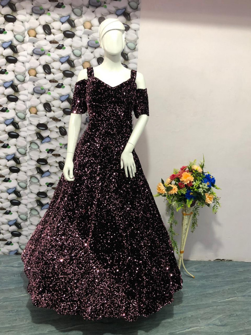 Latest Heavy Wine Gown
