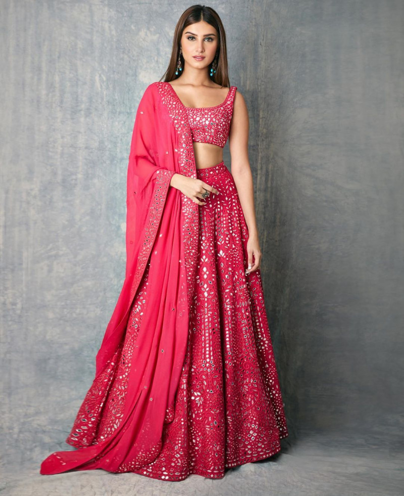 Tara Sutaria Designer Pink Color Mirror Work and Heavy Embroidery Lehenga Choli