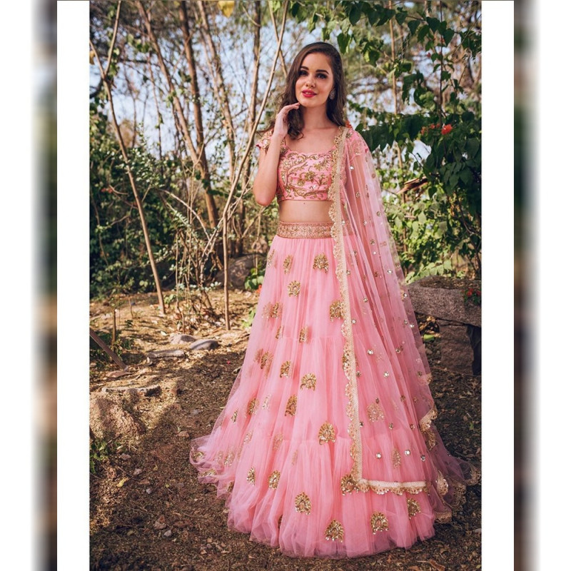 Baby Pink Net Lehenga Choli Party Wear