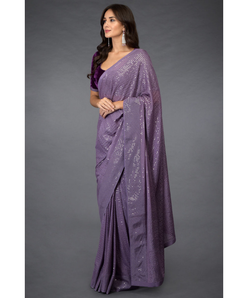 Presenting Velvet Blouse with Purple Color Georgette Sequence Saree