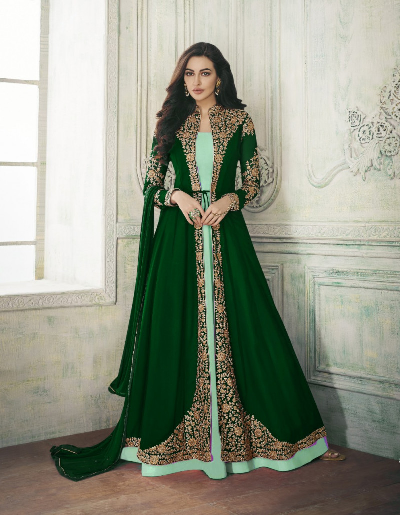 Latest Heavy Georgette Green Top with  Santoon Bottom