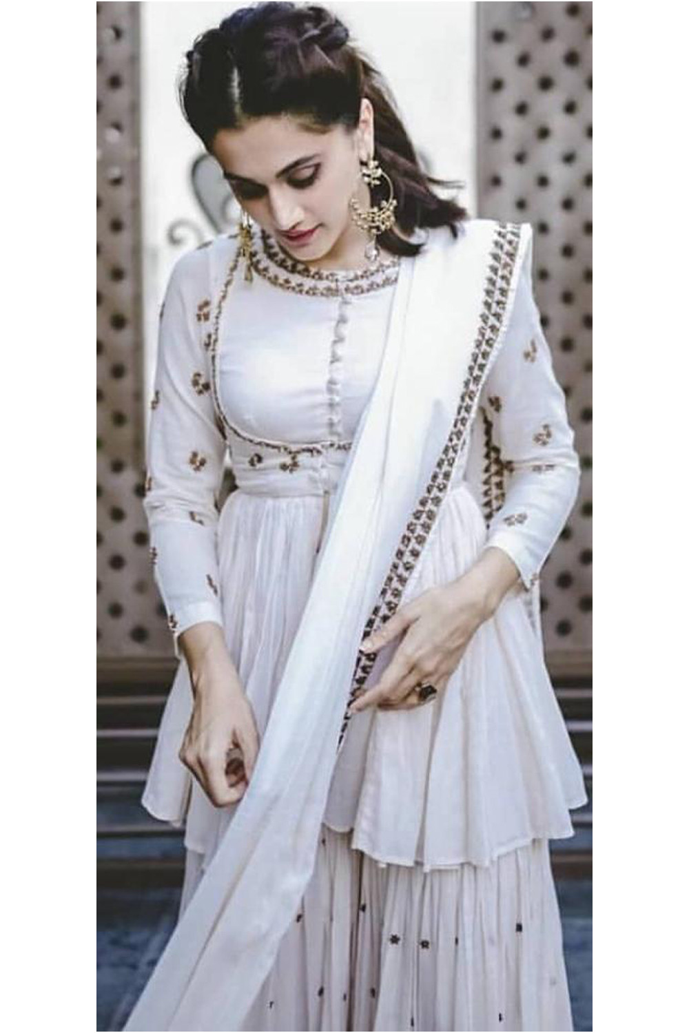 Taapsee Pannu Wonderful White Colored Bollywood Sharara Suit