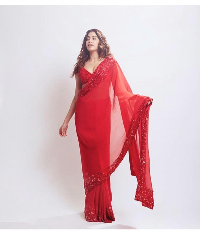 Jhanvi Kapoor Stylish Designher Red Color Georgette Embroidery work Saree  2021