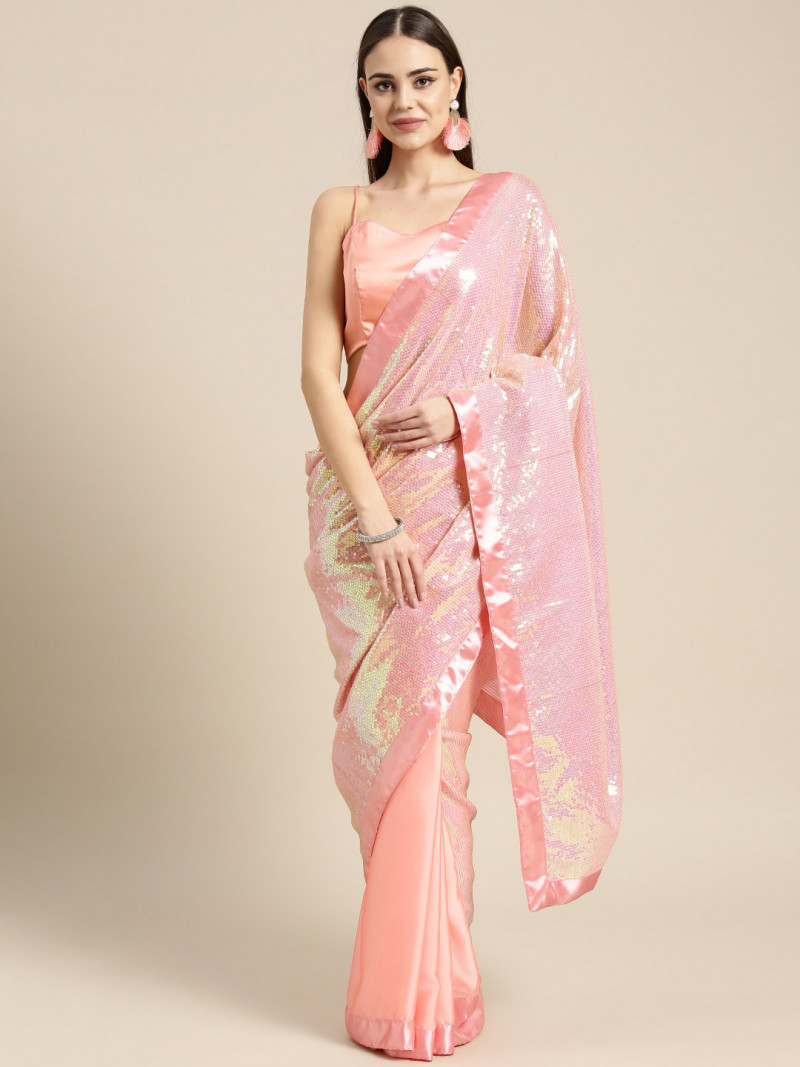 Adorable  Pink Poly Crepe Party Wear Sequence Saree  2021