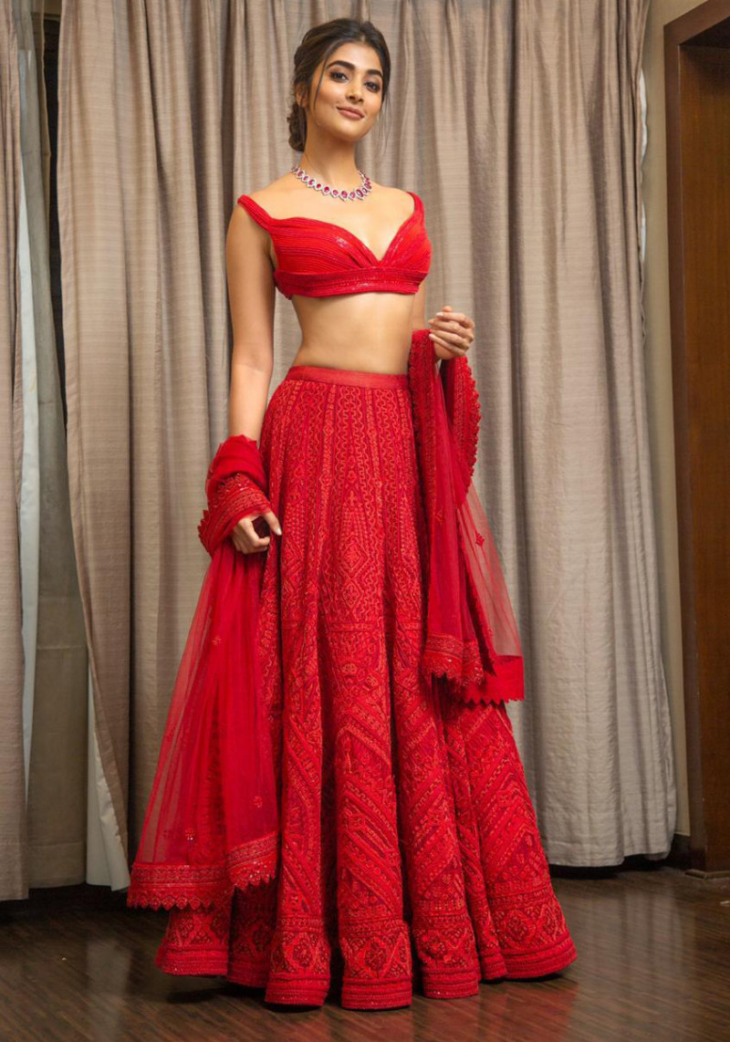 Bollywood Style Pooja Hegde wear Red Color Bridal Lehenga Choli