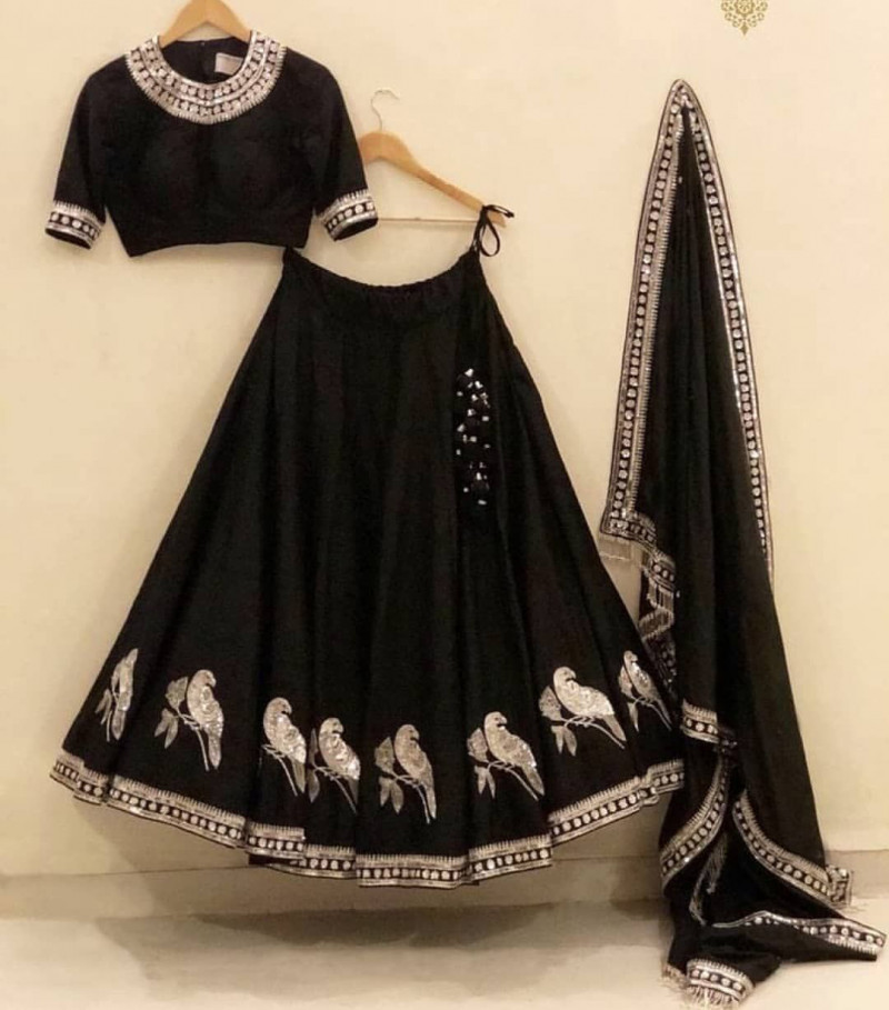 Black Lehenga Choli with Parrot Work Embrodery