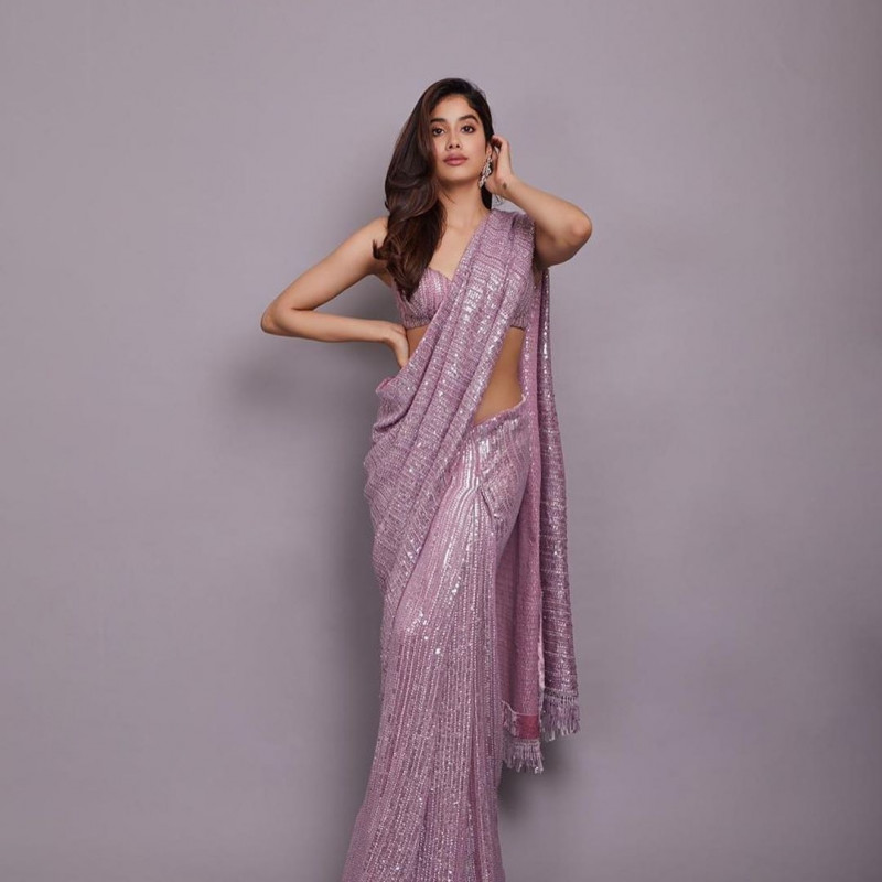 Janhvi Kapoor wear Sequence Bollywood Saree