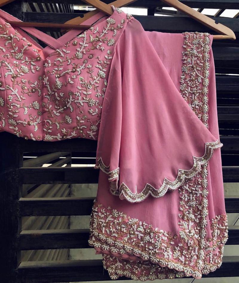 Designer Battle Pink Wedding Saree