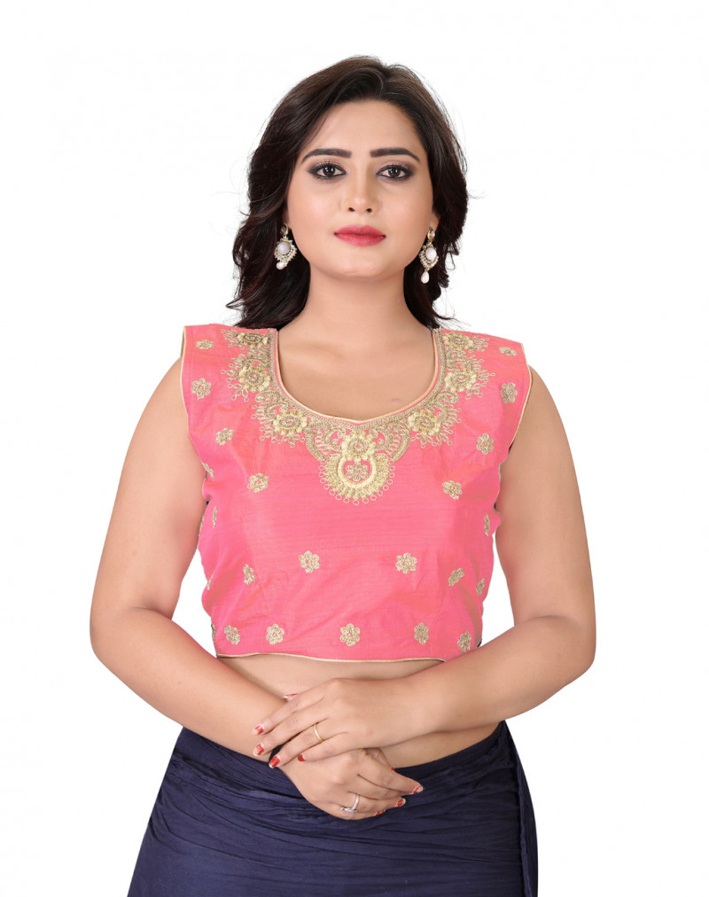 Demanding Pink Color Silk Embroidery Round Neck Blouse