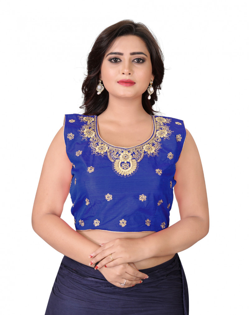 Engrossing Blue Color Silk Embroidery Round Neck Blouse
