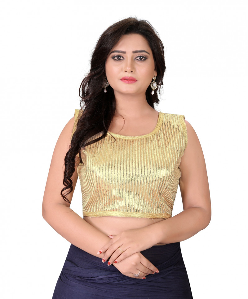 Charming Gold Color Georgette Embroidery Round Neck Blouse